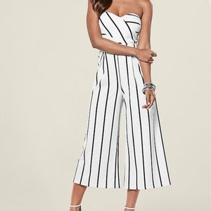 Venus Stripe Culotte Jumpsuit, Black & Ivory, L